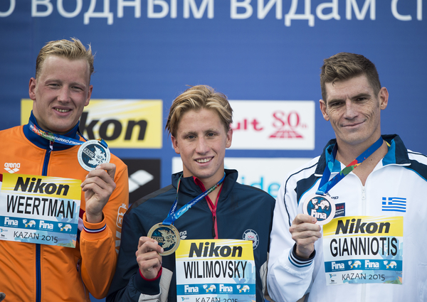 WEERTMAN Ferry NED silver medal, WILIMOVSKY Jordan USA gold medal, GIANNIOTIS Spyridon GRE bronze medal Open Water - Men's 10km  Day 04 27/07/2015 XVI FINA World Championships Aquatics Swimming Kazan Tatarstan RUS July 24 - Aug. 9 2015  Photo Giorgio Perottino/Deepbluemedia/Insidefoto