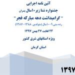 آئین نامه اجرایی جشنواره شنای پسران زیر 10 سال (9 – 10 سال)  استانهای شرق کشور به مناسبت بزرگداشت چهلمین سالگرد پیروزی انقلاب اسلامی به میزبانی استان کرمان اعلام شد.