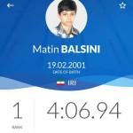 متین بالسینی در نخستین روز مسابقات قهرمانی شنا جوانان جهان در شهر بوداپست مجارستان در ماده ۴۰۰متر آزاد به رقابت با حریفان خود پرداخت.