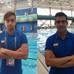 متین سهران و مهرشاد افقری در پنجمین روز مسابقات قهرمانی شنا جوانان جهان در شهر بوداپست مجارستان  در ماده 100 متر آزاد به آب زدند.