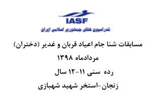 نتایج مسابقات شنا مسافت کوتاه دختران زنجان