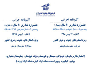 آئین نامه اجرایی جشنواره شنا زیر ۱۰سال استانهای جنوب و شرق کشور